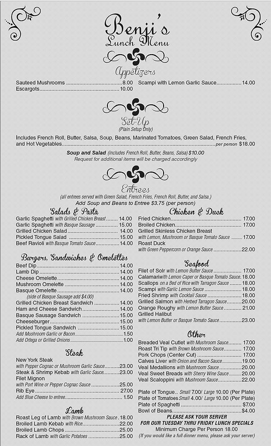 Benji's Lunch Menu Front