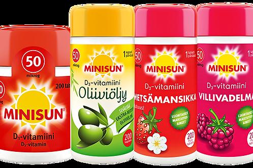Minisun 50 µg D-vitamiinivalmisteet 200 tabl.