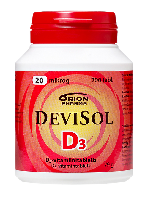 Devisol D-vitamiini 20 mikrog 200 purutabl.