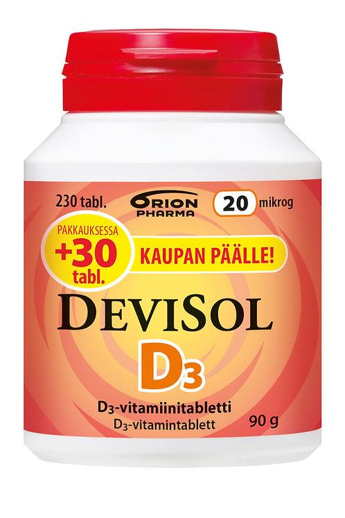 Devisol D3 -vitamiini 20 mikrog 230 tablettia