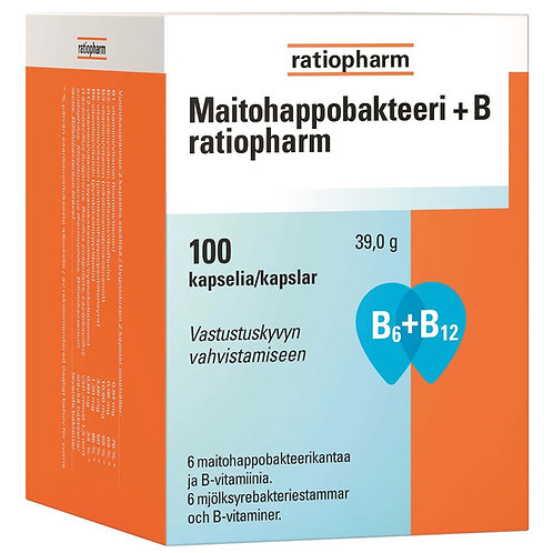 Maitohappobakteeri +B ratiopharm 100 kaps.