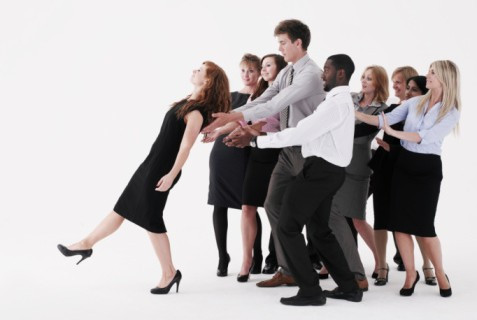 Team building, trust fall