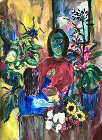 """""""The arrival of Flowers"""", 109x79 cm acrylic on paper"""
