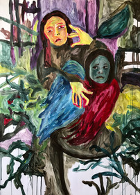 """""""Caring Mother"""", 109x79 cm acrylic on paper"""