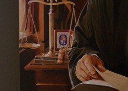 Detail of Judge Portrait scales of justice
