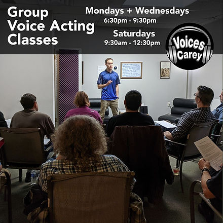 Brian Pappas teaching a group voice acting class at Voices Carey
