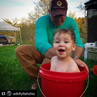 Camp bubble bath, 5 gallon bucket style #parkerjames #cutiepie #trailmarkeroutdoors #troutpower2018 #jprossflyrods _jprossflyrods _trailmark
