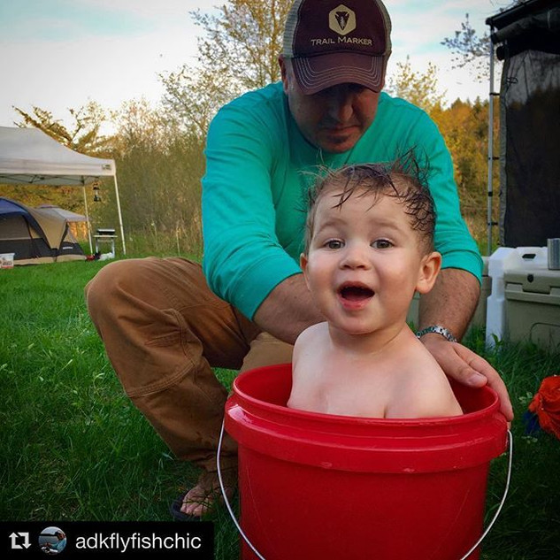 Camp bubble bath, 5 gallon bucket style #parkerjames #cutiepie #trailmarkeroutdoors #troutpower2018 #jprossflyrods _jprossflyrods _trailmark