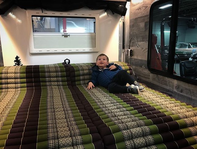 Parker hanging out in the #bushwhacker #trailer #camper #trailmarker #trailmarkeroutdoors #adventure #camplife #daydreaming #living #thatsli