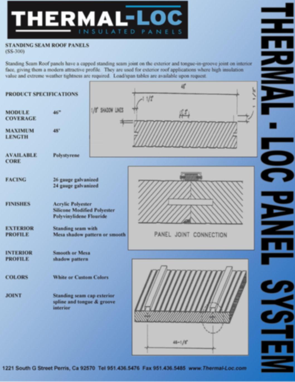 Thermal-loc Panels Standing seam Roof Panels