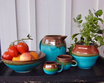 Turquoise and rust glaze collection