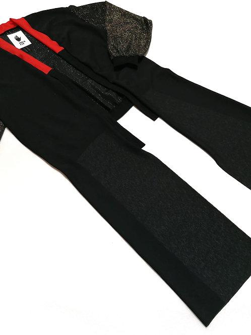 kimono, narzutka ROWK zlote rekawy, dlugie rekawy, czerwony kolnierz