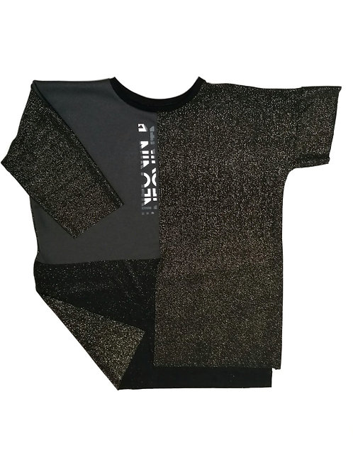 koszulka ROWK krotki rekaw, napis vintage, czarna, zlote techno