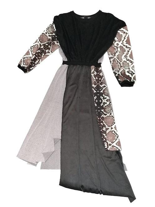 sukienka ROWK dlugi rekaw, czarna, szara, motyw boa, za kolano, snake techno