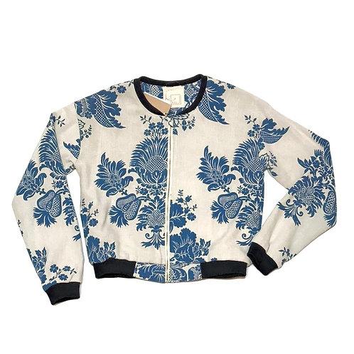 bomberka FLORAL ESC niebieskie, kwiaty, biala, len