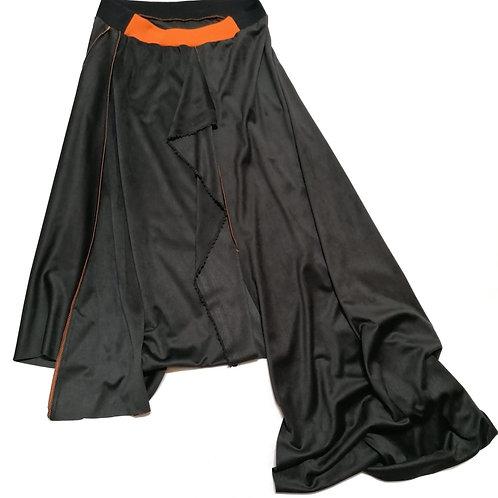 spodnica ROWK czarna, grafit, pomaranczowy, pomaranczowe sciegi, dluga