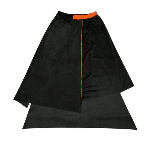 spodnica ROWK czarna, grafit, pomaranczowy, pomaranczowe sciegi, poldluga