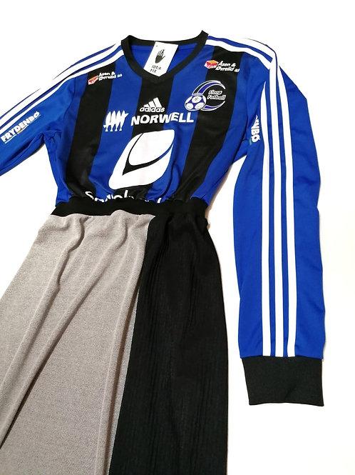 sukienka ROWK dlugi rekaw, niebieski top, za kolano, sporty techno