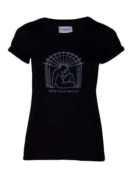 koszulka, femi-shirt UADO myślę czuję decyduje czarna