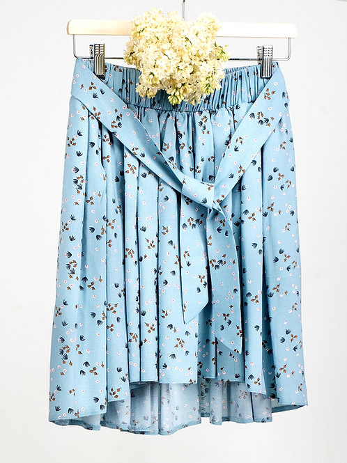 MAJA mini spódnica błękitna w drobne kwiaty