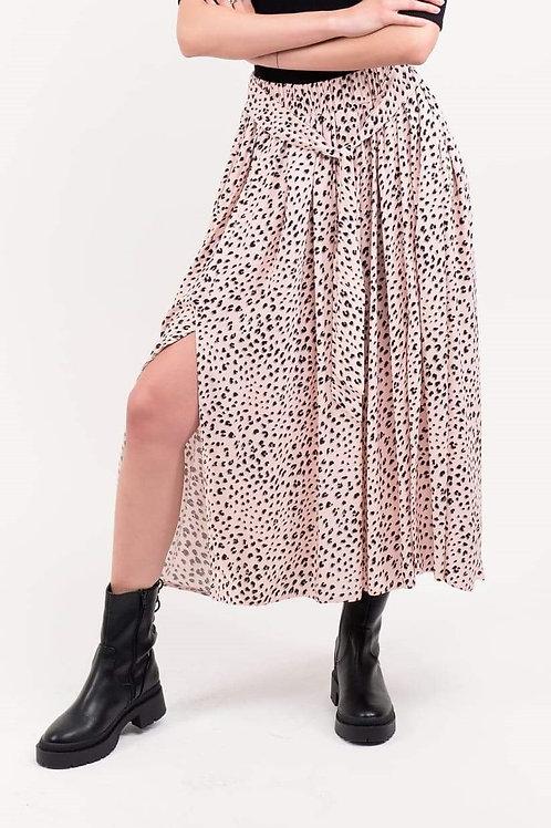 NINA maxi różowa spódnica w cętki