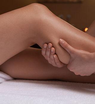 Full body massage. Young woman lying whi