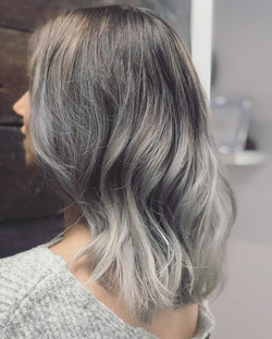 Blonde to slate grey 😍🤳 Book your hair