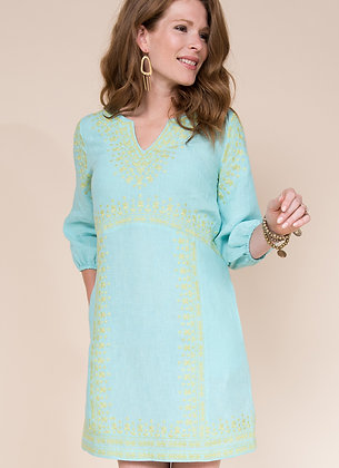 Turquoise Linen Dress - Ivy Jane