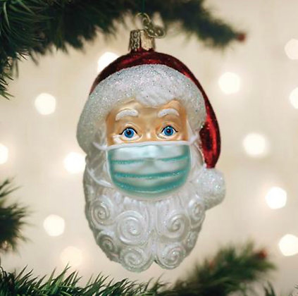 Santa with Mask Ornament