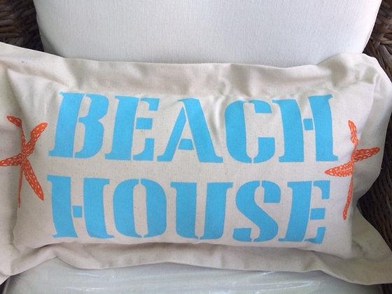 Beach House Hand Printed Pillow