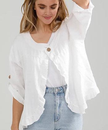 White Ruffle Linen Jacket