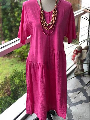 Fuschia Linen Dress