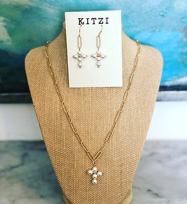 Pearl Cross Necklace and Earrings