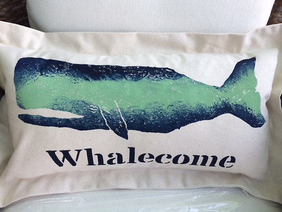 Whalecome Hand Printed Pillow