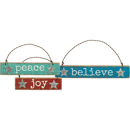 Ornament Set 3- Joy, Peace, Believe