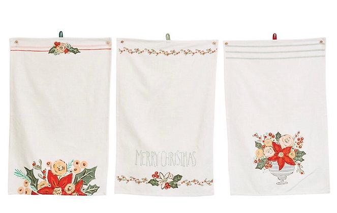 Floral Holiday Tea Towel