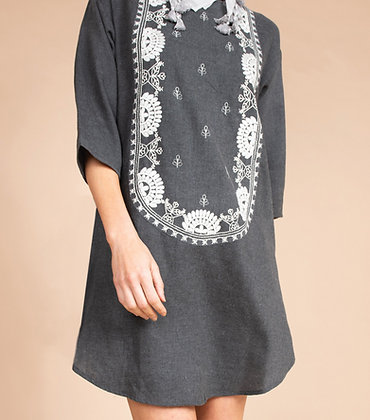 Grey Dress w/ Embroidery - Uncle Frank