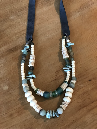 Two Tier Glass Beaded Necklace