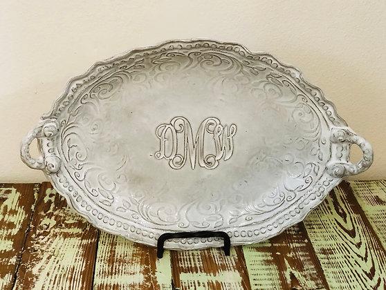 Monogrammed Oval Platter w/ Handles