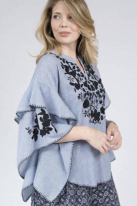Chambray Stripe Crochet Top- Ivy Jane