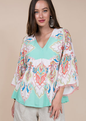 Mint Paisley Blouse - Ivy Jane