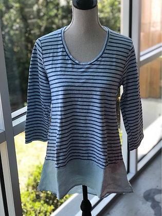 Cut Loose Cotton Linen Blue Stripe Top