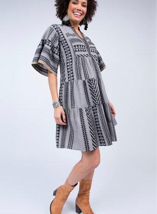 Grey Aztec Flutter Dress