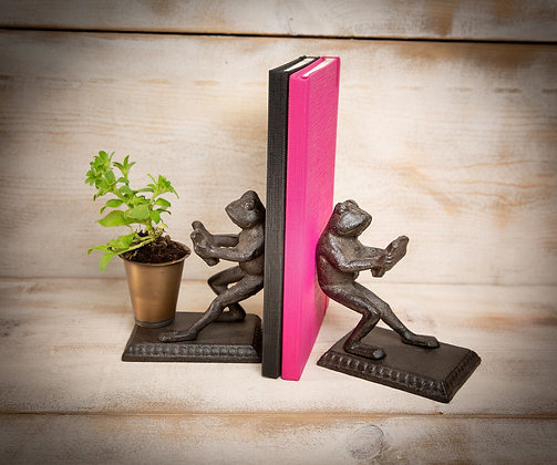 Pair Cast Iron Frog Bookends