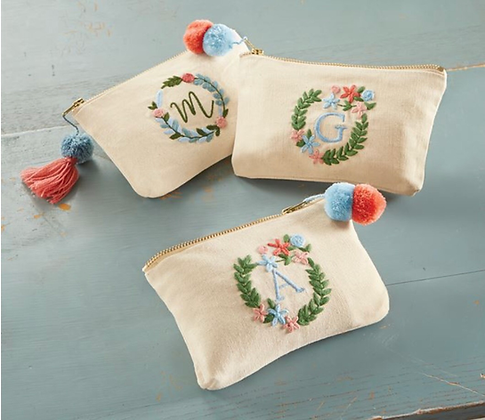 Initial Embroidered Pouch