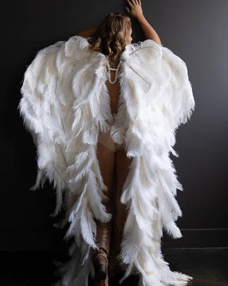 tampa boudoir white angel wings photo