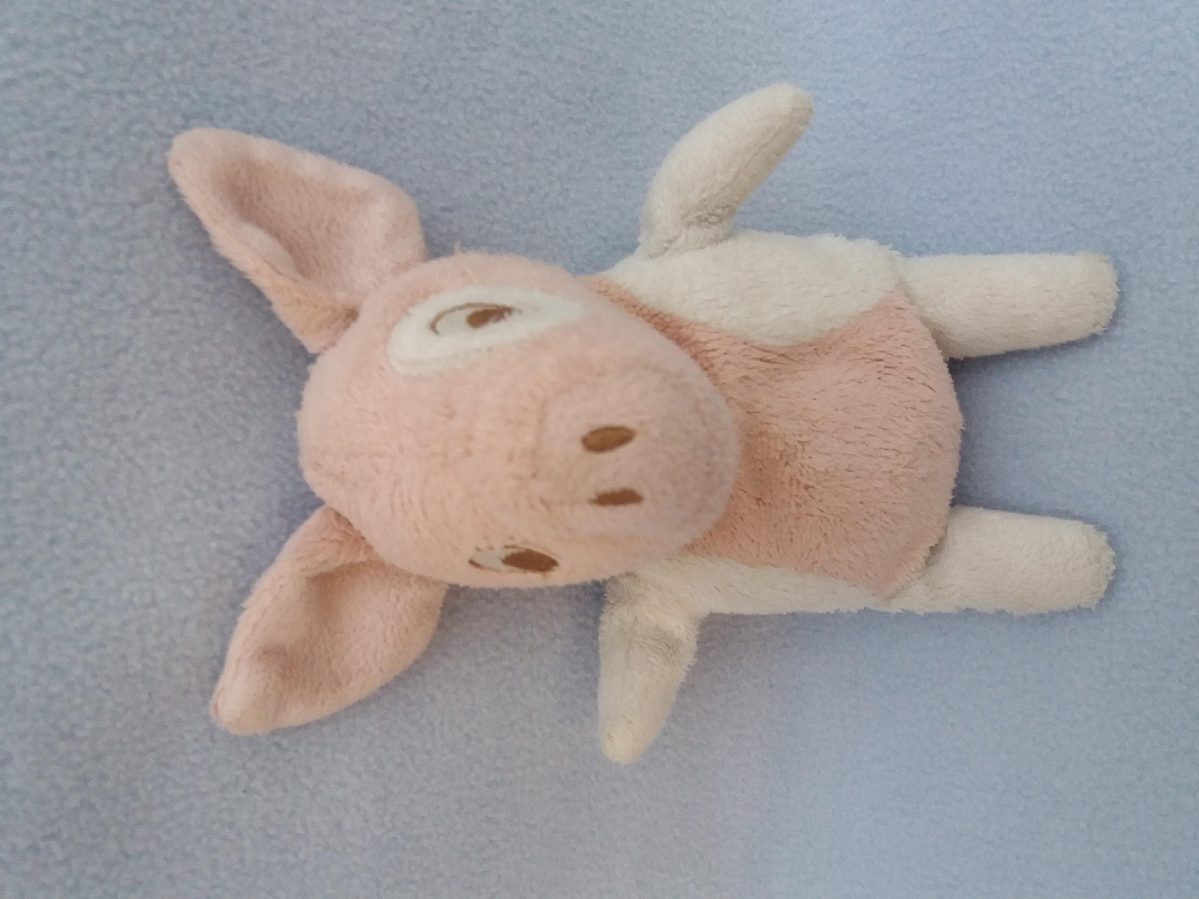 Doudou cochon rose et blanc