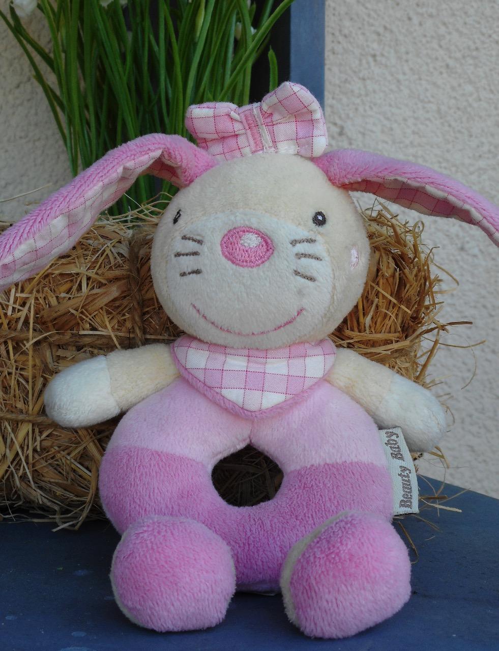 Doudou lapin rose