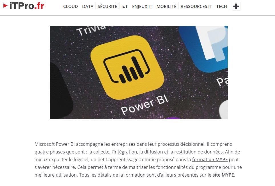 article de ITPro.fr traitant des formations MYPE