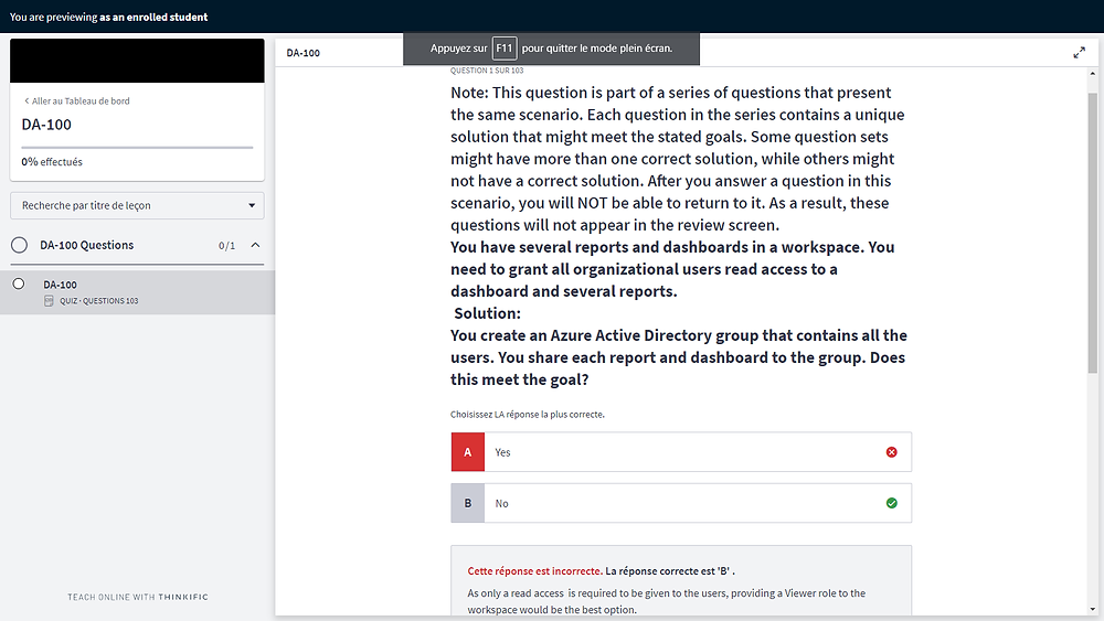 Capture d'écran de la plateforme d'apprentissage MYPE
